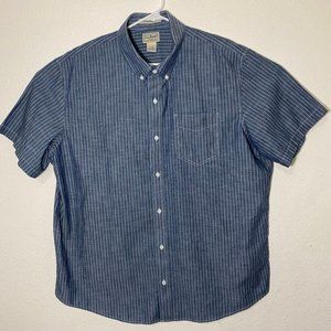 LL Bean Mens XL Regular Blue Stripe SS Button Up
